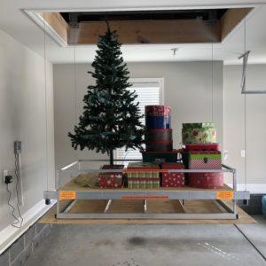 christmas items on attic lift